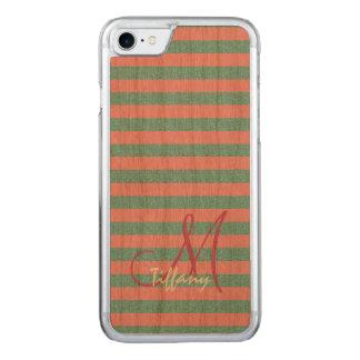Pink and sky blue aqua glitter stripes monogram carved iPhone 8/7 case