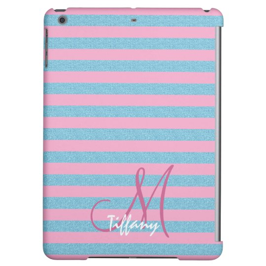 Pink and sky blue aqua glitter stripes monogram cover for iPad air