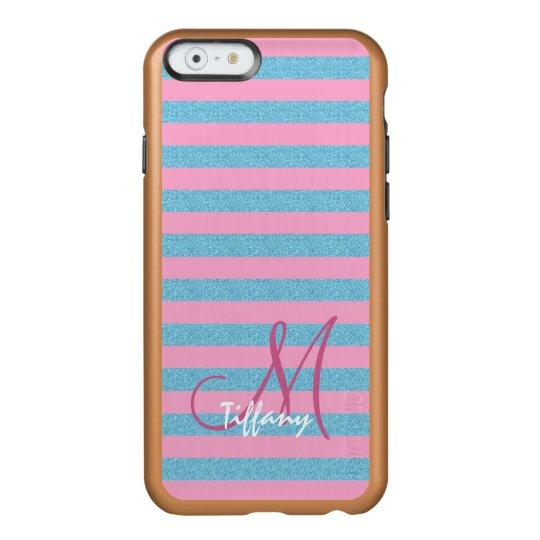 Pink and sky blue aqua glitter stripes monogram incipio feather® shine iPhone 6 case