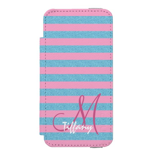 Pink and sky blue aqua glitter stripes monogram incipio watson™ iPhone 5 wallet case