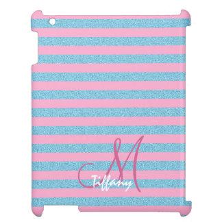 Pink and sky blue aqua glitter stripes monogram iPad cover