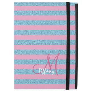 "Pink and sky blue aqua glitter stripes monogram iPad pro 12.9"" case"