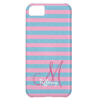 Pink and sky blue aqua glitter stripes monogram iPhone 5C cover
