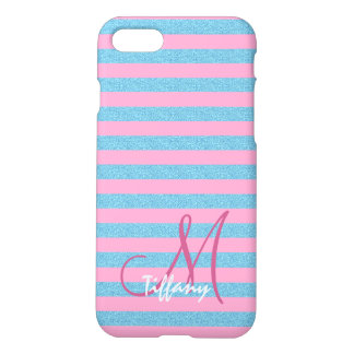 Pink and sky blue aqua glitter stripes monogram iPhone 8/7 case