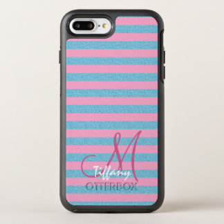 Pink and sky blue aqua glitter stripes monogram OtterBox symmetry iPhone 8 plus/7 plus case