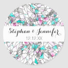 Pink and Teal Abstract Watercolor and Geometric Classic Round Sticker