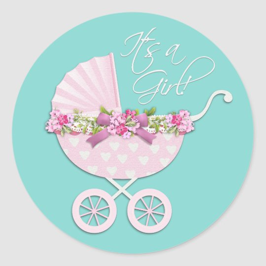 Pink and Teal Blue Baby Carriage Stickers