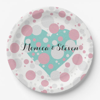 Pink and Teal Blue Shower Baby Reveal Party Plates