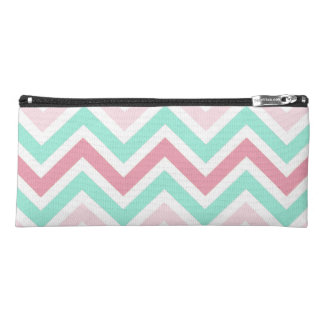 Pink and Teal Chevron Pencil Case