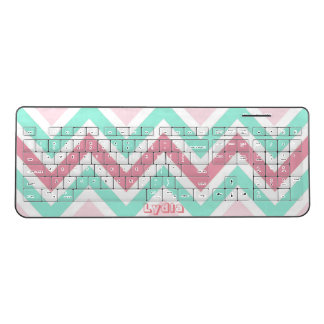 Pink and Teal Chevron Wireless Keyboard