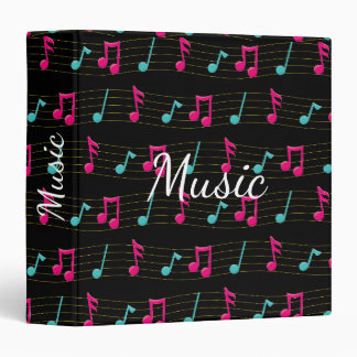 Pink and Teal Colorful Musical Notes 3 Ring Binder