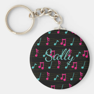Pink and Teal Colorful Musical Notes Personalized Keychain