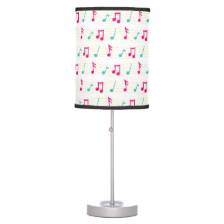 Pink and Teal Colorful Musical Notes Table Lamp