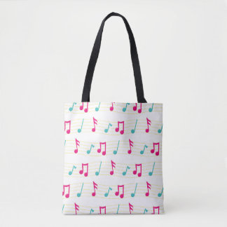 Pink and Teal Colorful Musical Notes Tote Bag