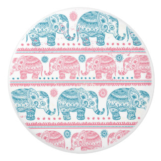 Pink And Teal Ethnic Elephant Pattern Ceramic Knob