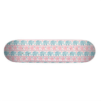 Pink And Teal Ethnic Elephant Pattern Skate Board Deck