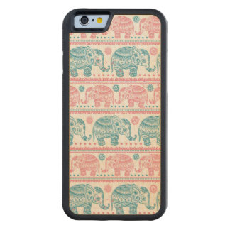 Pink And Teal Ethnic Elephant Pattern Carved® Maple iPhone 6 Bumper Case