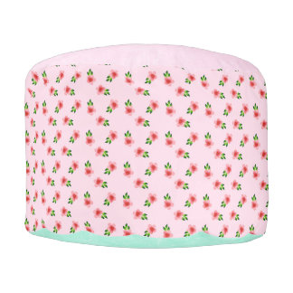 Pink and Teal Floral Pouf