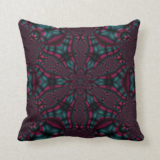 Pink and Teal fractal art pillow