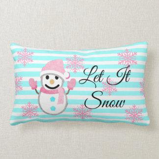 Pink and Teal Let it Snow  Snowfman Pillow