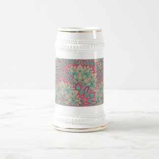 Pink and Teal mandala pattern. Beer Stein