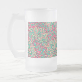 Pink and Teal mandala pattern. Frosted Glass Beer Mug