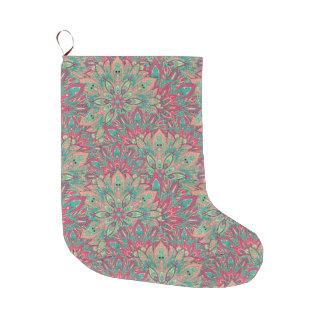 Pink and Teal mandala pattern. Large Christmas Stocking