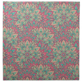 Pink and Teal mandala pattern. Napkin