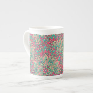 Pink and Teal mandala pattern. Tea Cup