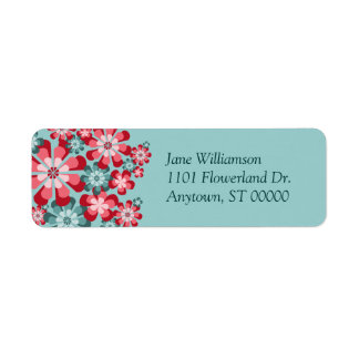 Pink and Teal Mod Flowers Custom Address Labels