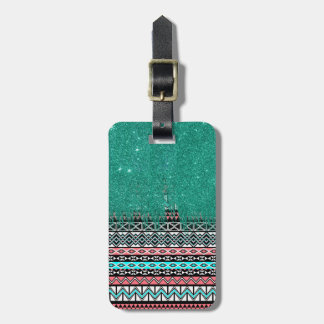 Pink and Teal Modern Aztec with Faux Teal Glitter Bag Tag