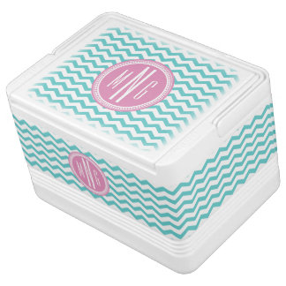 Pink and Teal Monogram Chevron Monogrammed