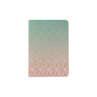 Pink and Teal Ombre w/ Gold Swirls Passport Holder