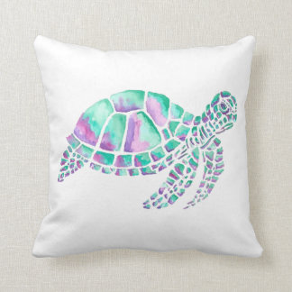 Pink and Teal Sea Turtle Throw Pillow
