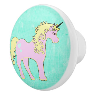 Pink and Teal Unicorn Fairy Tale Knob