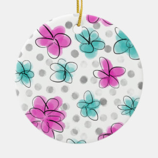 Pink and Teal Watercolor Flower Polka Dot Round Ceramic Ornament