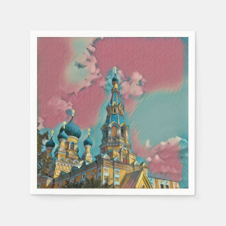 Pink and Turquoise Church Painting Paper Napkin