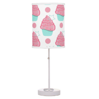Pink and Turquoise Cupcakes, Cupcake Pattern Table Lamp