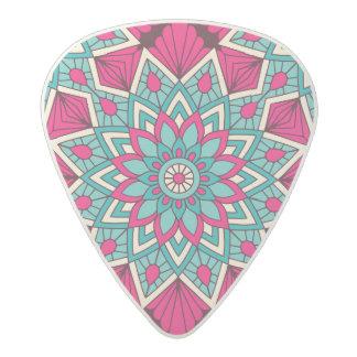 Pink and turquoise floral mandala pattern acetal guitar pick