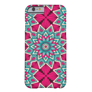 Pink and turquoise floral mandala pattern barely there iPhone 6 case