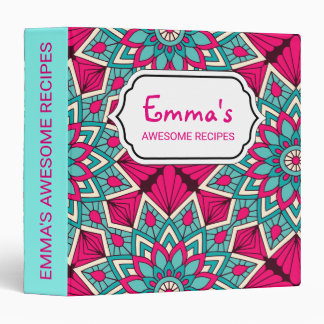 Pink and turquoise floral mandala pattern binders