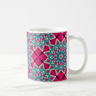 Pink and turquoise floral mandala pattern coffee mug
