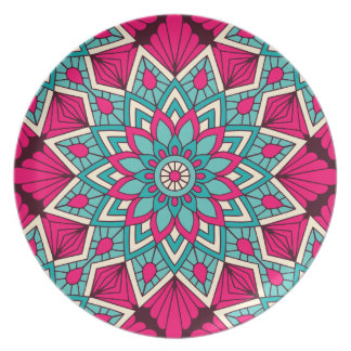 Pink and turquoise floral mandala pattern dinner plates