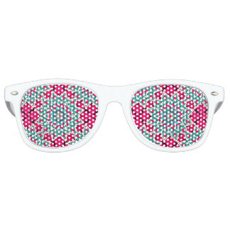Pink and turquoise floral mandala pattern party sunglasses