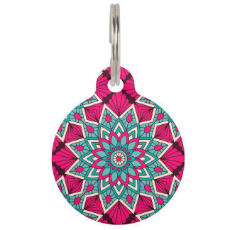 Pink and turquoise floral mandala pattern pet name tag