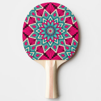 Pink and turquoise floral mandala pattern ping pong paddle