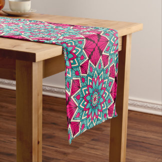 Pink and turquoise floral mandala pattern short table runner