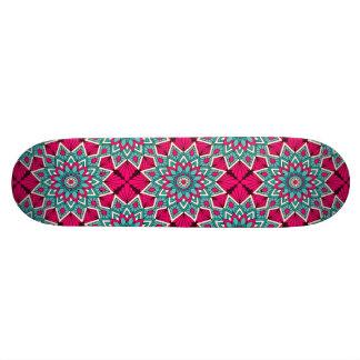 Pink and turquoise floral mandala pattern skate decks