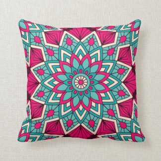 Pink and turquoise floral mandala pattern throw pillow