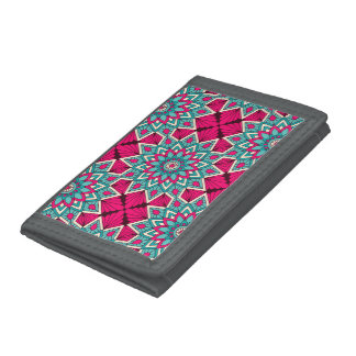 Pink and turquoise floral mandala pattern tri-fold wallets